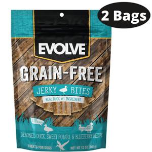 Evolve Grain Free Duck, Pea & Blueberry Recipe Jerky Bites 2 12-oz Packs 3/6/22