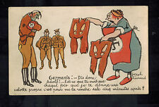 Mint WW2 France Anti Nazi Propaganda Postcard GErmany is DOne Soldiers Boot Pant