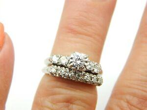 VINTAGE WEDDING ENGAGEMENT SET 14K WHITE GOLD .20 CARAT ROUND DIAMOND RING 5.5