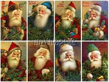 16 Vintage Father Christmas Santa Claus Scrapbook Stickers Peel & Stick (no cutt