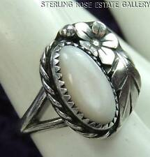 VINTAGE AMERICAN WEST PINK MOP Hand Crafted STERLING SILVER 0.925 RING size 4.5
