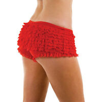 Frilly Ruffle Sexy Knickers and Diamond Stockings Black Red White Pants Hoisery