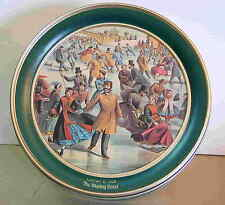 New listing Currier Ives Metal Tin Winter Skating Pond Old Fashioned Period Dress Free Sh