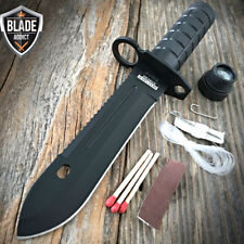 """9"""" Camping Hunting Rambo Outdoor Fixed Blade Knife Army Bowie + Survival Kit"""