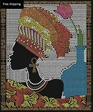 Sankofa (afro) black woman Rhinestone Iron on Transfer      VC94
