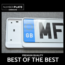 2 x PREMIUM WHITE STAINLESS STEEL NUMBER PLATE SURROUND HOLDER FOR PEUGEOT
