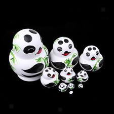 Handpainted Russian Matryoshka Nesting Doll Panda Bamboo Pattern Wood Toy