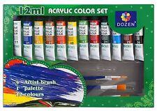Set 12 Tubi Tubetti Colori 12ml Pittura Acrilica + 4 Pennelli + Tavolozza idea