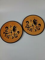 """Pennsbury Pottery set of 2 rooster/chicken dinner plates 10"""" round. Preowned"""