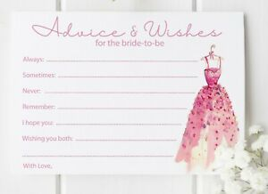 10 Advice & Wishes Bride To Be Cards Wedding Shower 14.8cm x 10.5cm 300gsm
