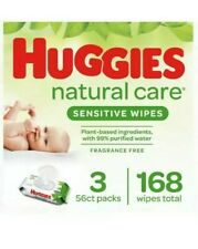 Huggies Natural Care Sensitive Baby Wipes, Unscented, 3 Flip-Top Packs (168 W)