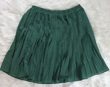 Comme Toi pleated mini skirt small green fully lined elastic waist pull on D10