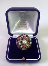 prunkvoller Ring - 14K Gold Edelsteine & Perle - Juwelieranfertigung