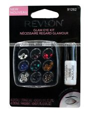 REVLON 47pc GLAM EYE KIT Crystals/Jewels+Case+Glue BLING Black+Red+Green+MORE