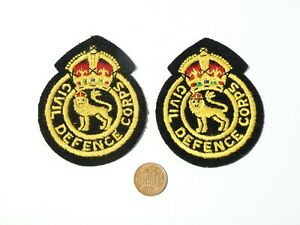Pair Vintage Civil Defence Corps Embroidered Military Patches Badges