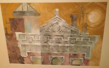City Rooftop in the Sun Casein Painting-1960s-William Gorman