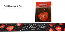 I Love You Foil Banner Wedding Engagement Valentines Day Party Decoration 4.5m