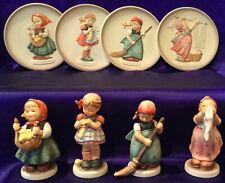 """GOEBEL M. I. HUMMEL """"LITTLE HOMEMAKERS"""" SERIES SET, 4 FIGURINES/4 MINI PLATES!"""