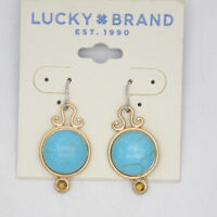 lucky brand jewelry antique vintage matte gold drop dangle turquoise earrings