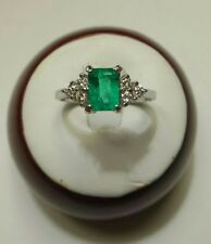NATURAL COLOMBIAN EMERALD 1.00ct & 0.25ct DIAMOND RING 14K W GOLD $3000