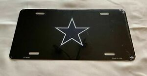 Dallas Cowboys Football Black + Small Blue Star Football Car License Plate