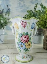 """SHABBY CHIC TRUMPET TROPHY VASE HAND PAINTED FLORAL DESIGN MADE IN ITALY 8"""" TALL"""