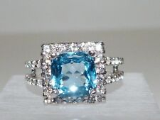 GENUINE 2.92cts! African Swiss Blue Topaz Ring, Solid Sterling Silver 925!