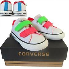 3f41f0672aaaf7 Kids Boys Girls Converse All Star White Neon 2 Strap 3v Trainers Shoes UK  Size 9