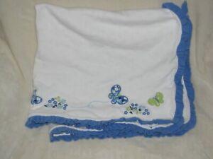 Vintage Gymboree Darling Butterfly 2011 White Blue Green Flower Blanket Ruffle