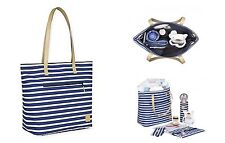 Lassig Diaper Striped Tote Bag Navy Blue & White NWT