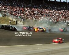 JOHN ANDRETTI #43 ERNIE IRVAN 1998 NASCAR CRASH AT TEXAS 8X10 PHOTO WINSTON CUP