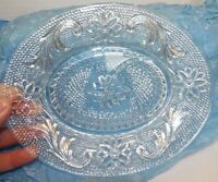 Lot 2 Vintage Clear Depression Glass Floral Serving Plates Oval 8.5 x 7 & 6""