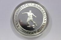 2000 Pesetas Silbermünze Olympiade Barcelona 1992 Fussballer PP