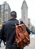 Men's Genuine Leather Vintage Laptop Backpack Rucksack Messenger Bag Satchel