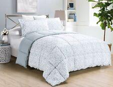 3pc Medallion Floral Print Down Alternative Comforter Set Queen,Light Steel Blue