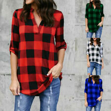 Womens Casual Long Sleeve Plaid Shirt V Neck Loose T Shirt Tops Blouse Plus Size