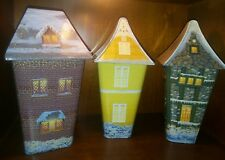 3 Thomas Kinkade Collectible Holiday Christmas Village Tins Gift Set Houses