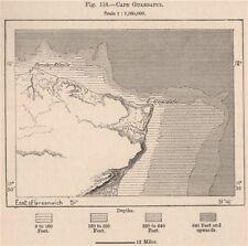 Capo Guardafui. RAS ASIR. SOMALIA 1885 VECCHIO ANTICO VINTAGE MAPPA piano Grafico