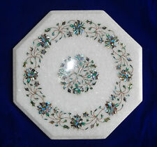 "16"" White Coffee Table Top Foyer Garden Furniture Marble Paua Shell Pietra Dura"