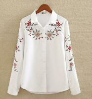 White Cotton Shirt Womens embroidered Blouse Long Sleeve Casual Tops Loose Shirt