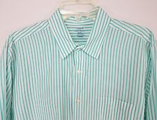 J. CREW Men's Button Front Light Weight Shirt Long Sleeves Green White Size L