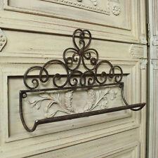 Brown wall mounted metal towel rail holder shabby ornate chic bathroom kitchen