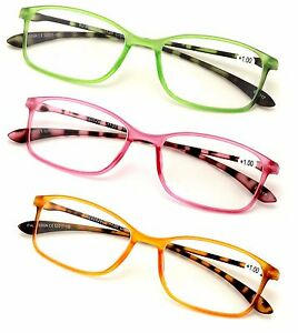 2 or 3 Pairs Rectangular Lightweight Flexible Temple Readers - Colorful Reading