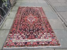 Vintage Traditional Hand Made Oriental Blue Pink Red Wool Large Rug 225x130cm