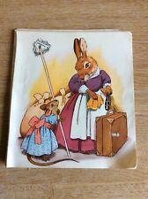 b3a ephemera 1960s Small Book Plate Picture Mother Rabbit And Mouse Cleaning
