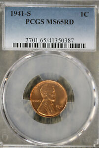 Beautiful 1941-S Lincoln Wheat Cent -  PCGS MS65RD!