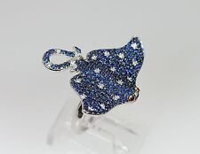 18k WHITE GOLD SAPPHIRE RUBY DIAMOND MANTA STINGRAY MARINE NAUTICAL RING