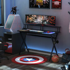 Homcom 55� Gaming Computer Desk Writing Table w/ Headphone Hook Curved Front