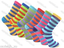 6 Pairs Mens Striped Socks Bright Coloured Smart Suit Cotton Blend Adults 6-11