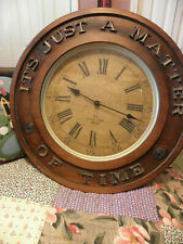 """Farmhouse Wooden Handmade Round Face Wall Clock """"It's Just a Matter of Time"""""""